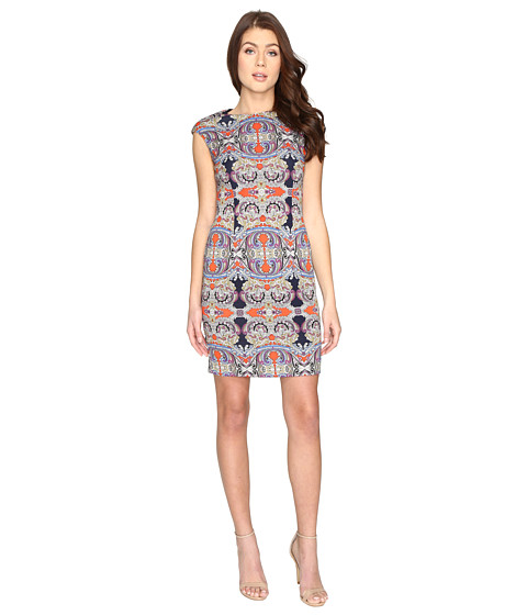 London Times Printed Scuba Extended Cap Sheath Dress