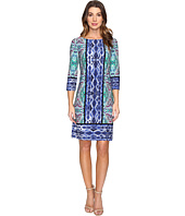 London Times - Ikat Medallion 3/4 Sleeve Shift Dress