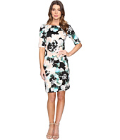 London Times - Floral Print Elbow Sleeve Dress
