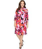 London Times - Plus Size Fleur Blur Twist Neck Fit & Flare Dress
