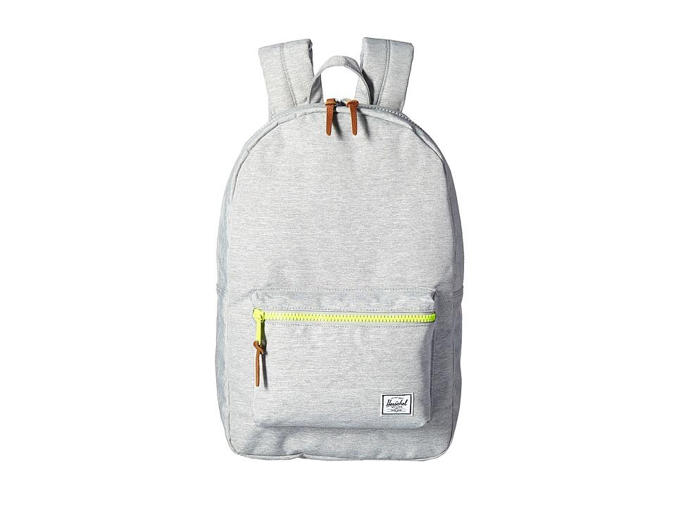 Herschel Supply Co. Settlement (Light Grey Crosshatch/Acid Lime Zip) Backpack Bags