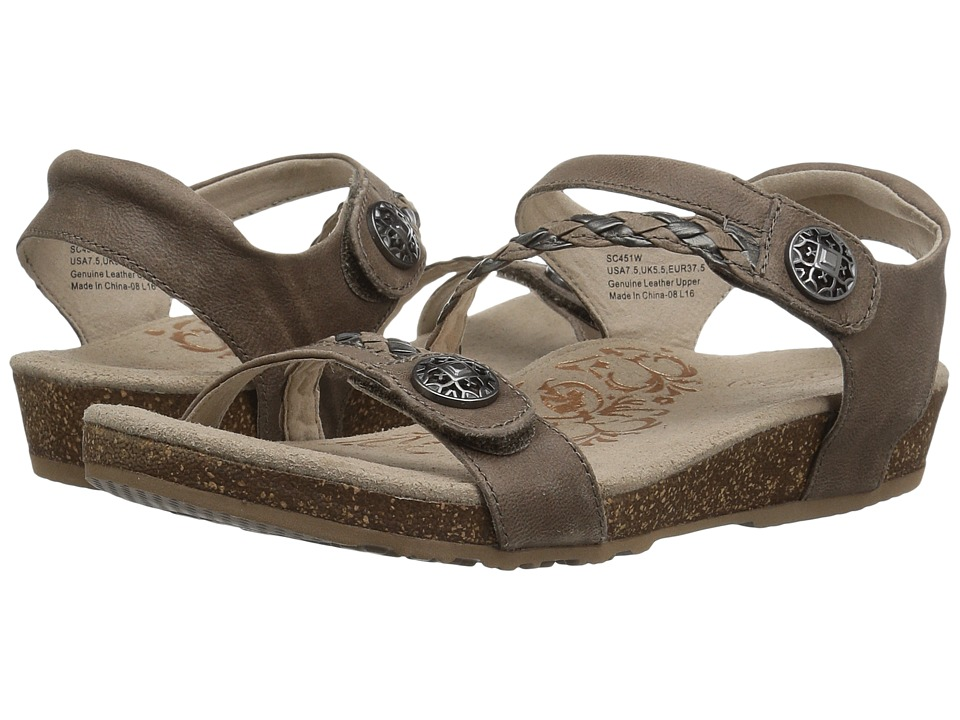Aetrex Jillian Quarter Strap (Grey) Sandals