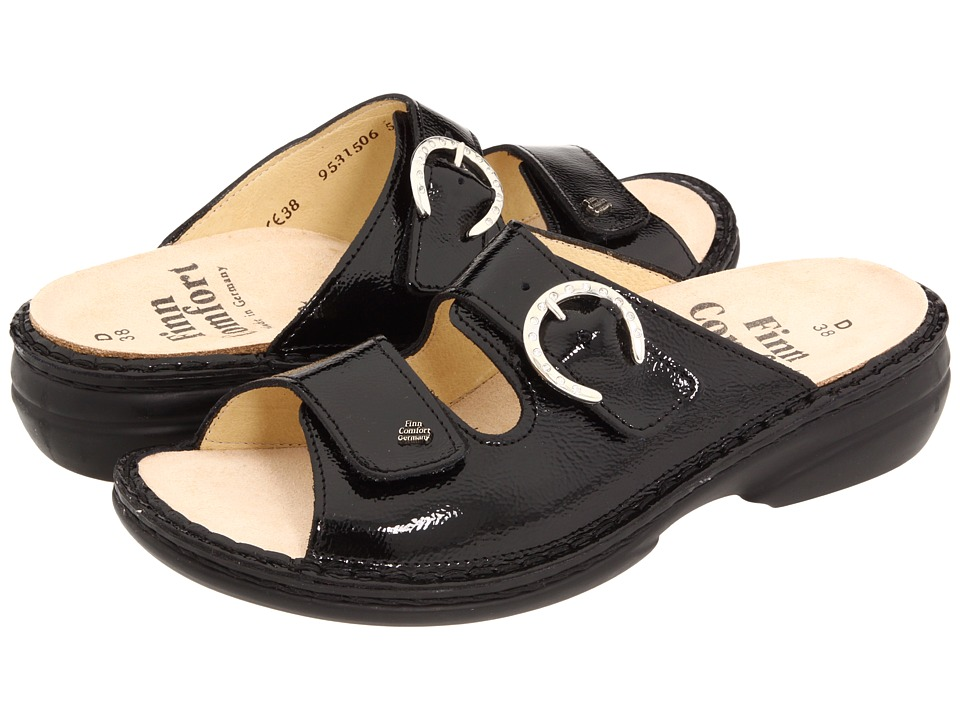 Finn Comfort Mumbai 82556 (Black Crinkle Patent) Sandals