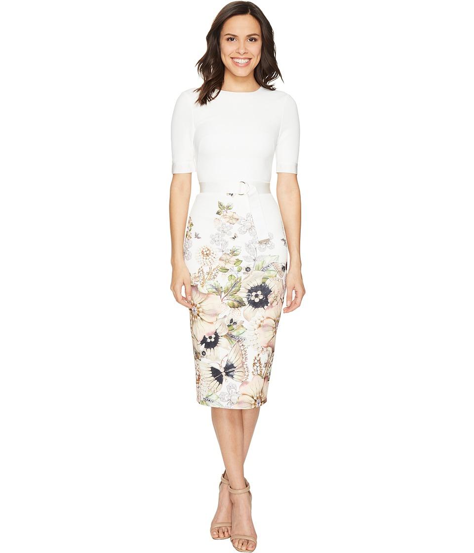 Ted Baker Layli Gem Garden Bodycon Dress (Ivory) Women