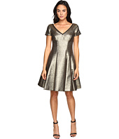 NUE by Shani - Fit and Flare Metallic Dress with Sleeves