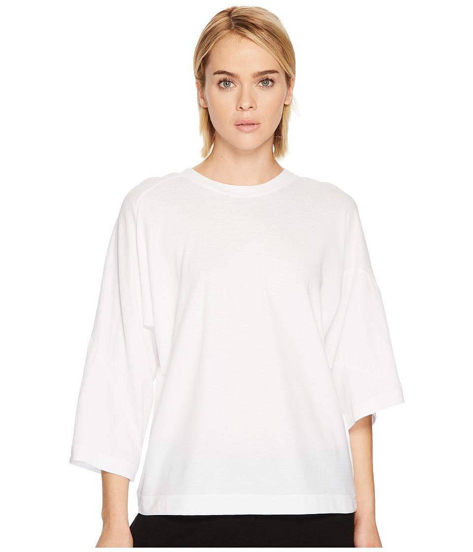 Ys by Yohji Yamamoto - 3/4 Sleeve Twist Tee (White) Womens T Shirt