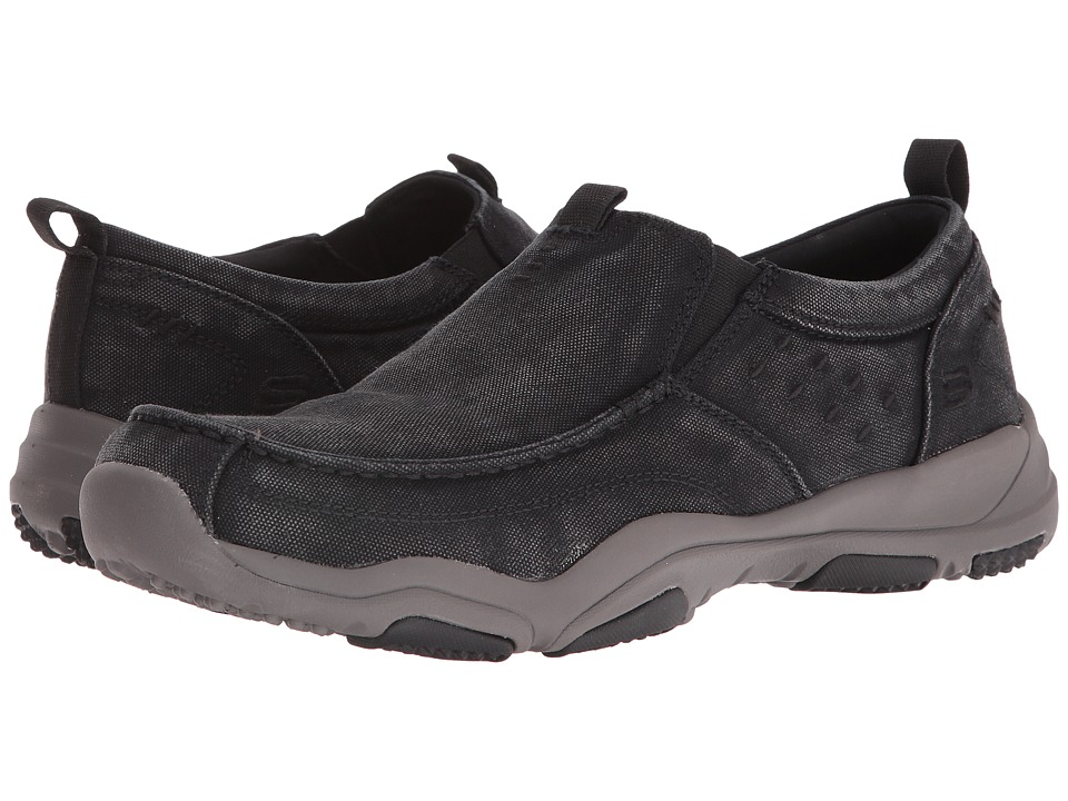 SKECHERS Classic Fit Larson Bolton (Black Charcoal Canvas) Men