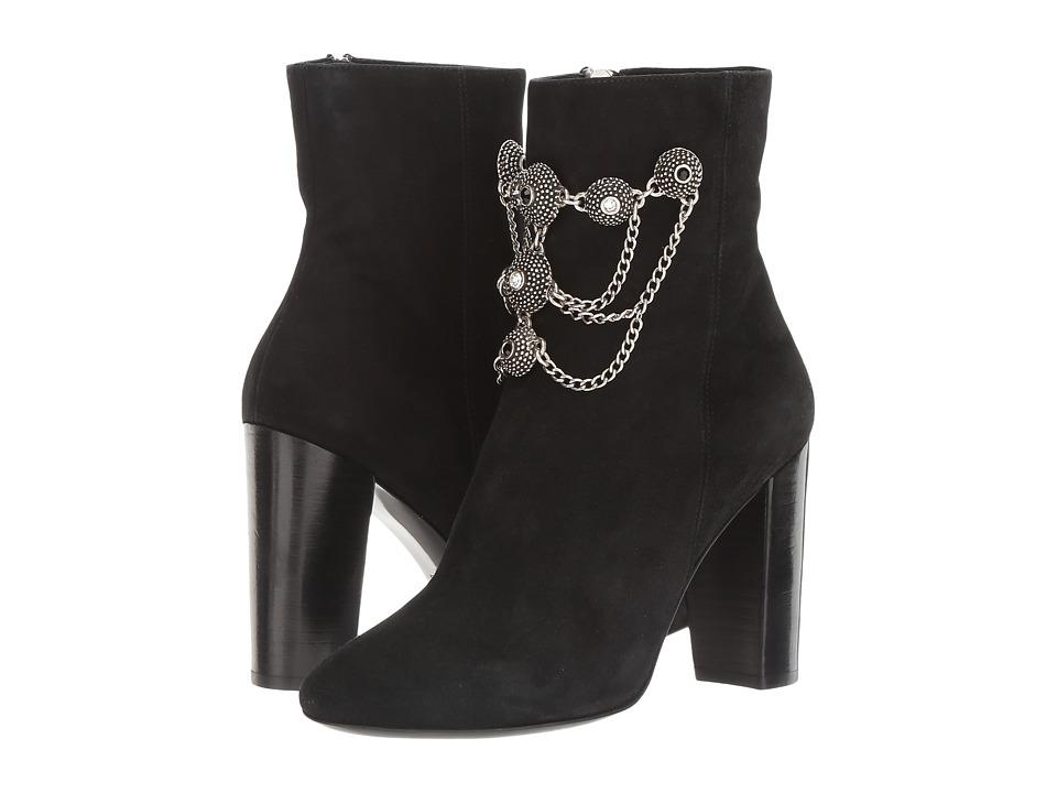 The Kooples Goatskin Nubuck Boots with Jewels (Black) Women