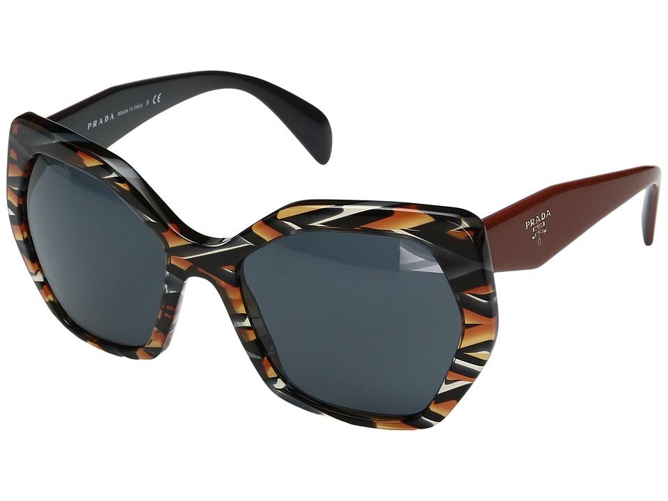 Prada 0PR 16RS (Sheaves Grey/Orange/Grey) Fashion Sunglasses