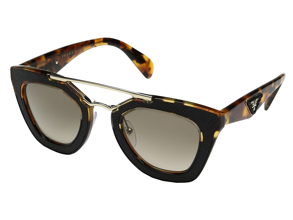 Prada - 0PR 14SS (Medium Havana/Black/Brown Gradient) Fashion Sunglasses