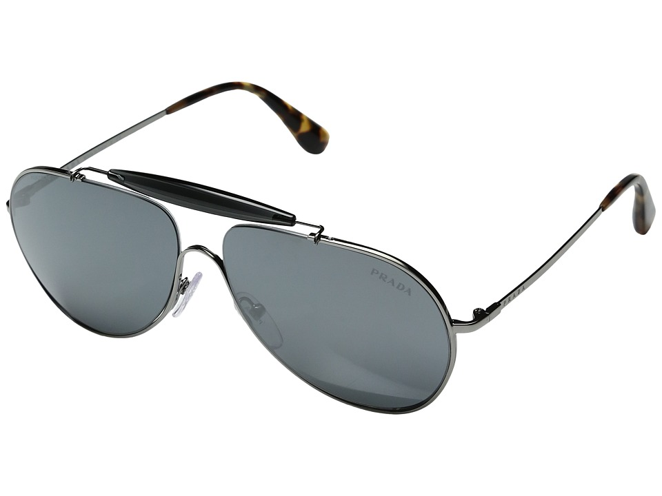 Prada - 0PR 56SS (Gunmetal/Grey Silver Mirror) Fashion Sunglasses