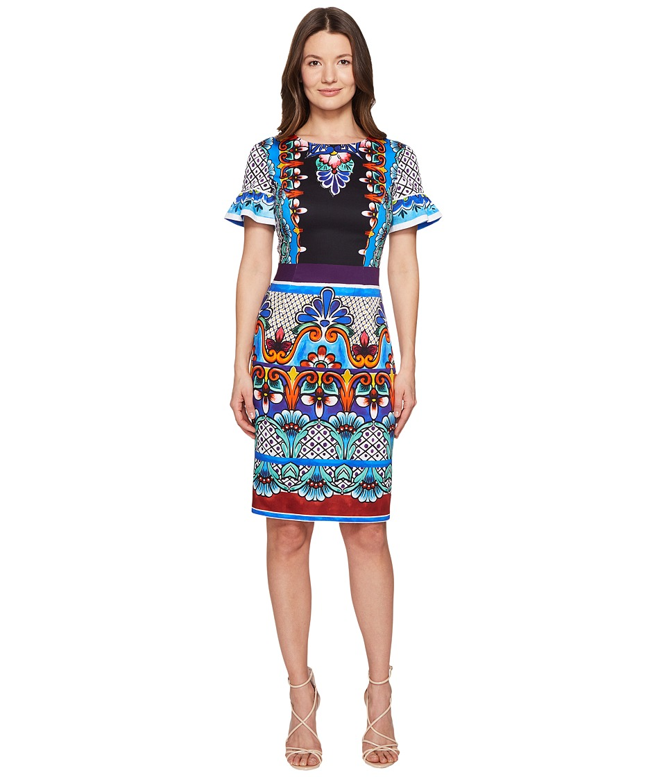 Alberta Ferretti - Short Sleeve Printed Jersey Dress