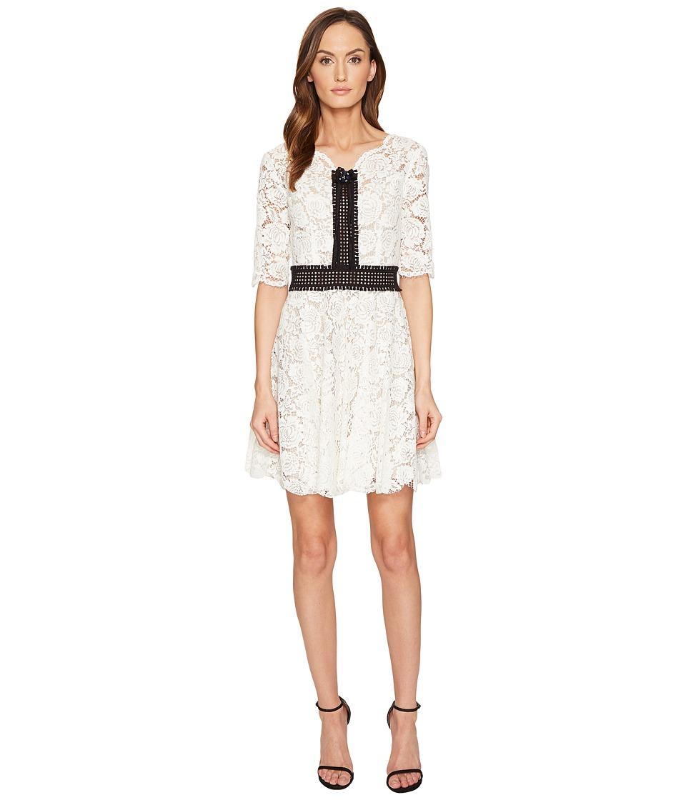 The Kooples Robe Courte Tout En Dentelle Manches Longues Dress (Ecru) Women