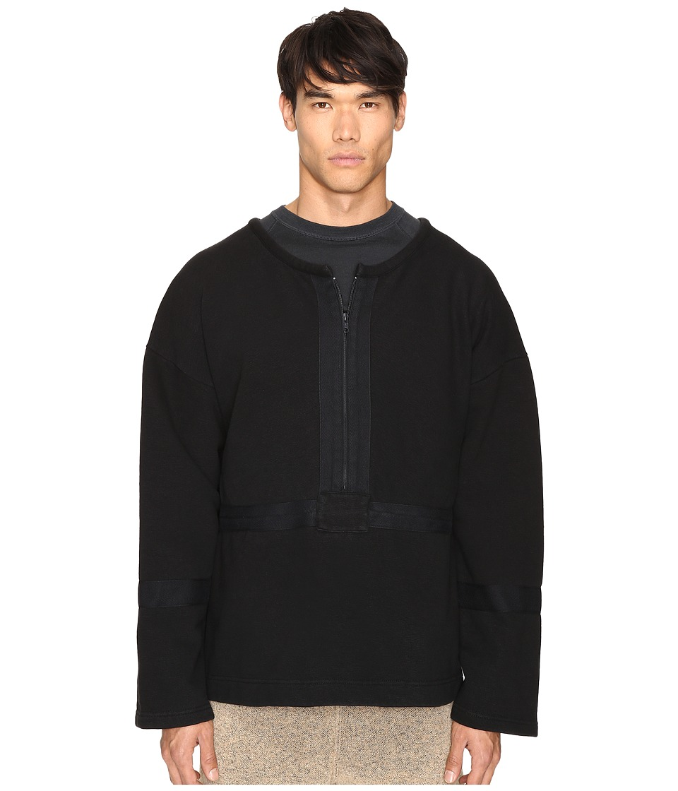 Image of adidas Originals by Kanye West YEEZY SEASON 1 - 1/2 Zip Crew (Caviar) Men's Clothing