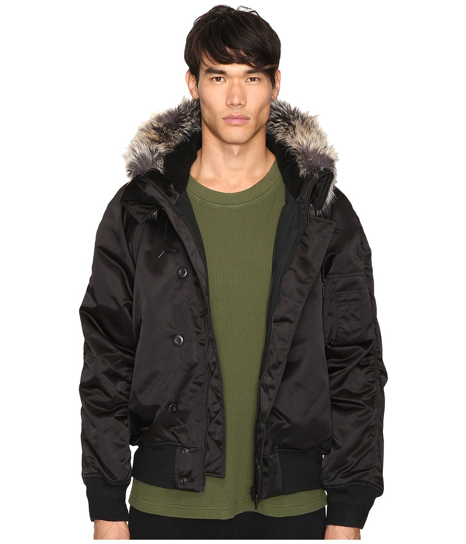 Image of adidas Originals by Kanye West YEEZY SEASON 1 - Faux Fur Trim Bomber (Black) Men's Coat