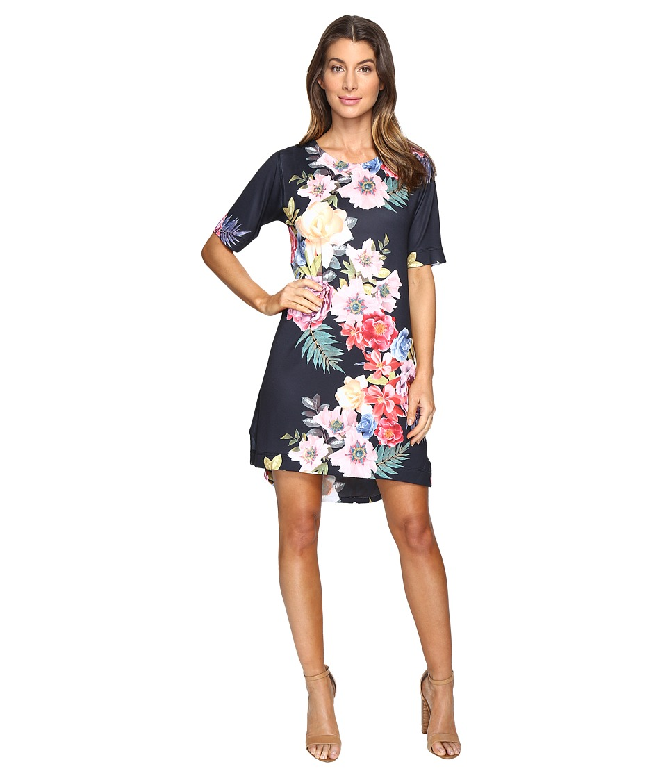 Nally & Millie Floral Elbow Sleeve Dress (Multi) Women