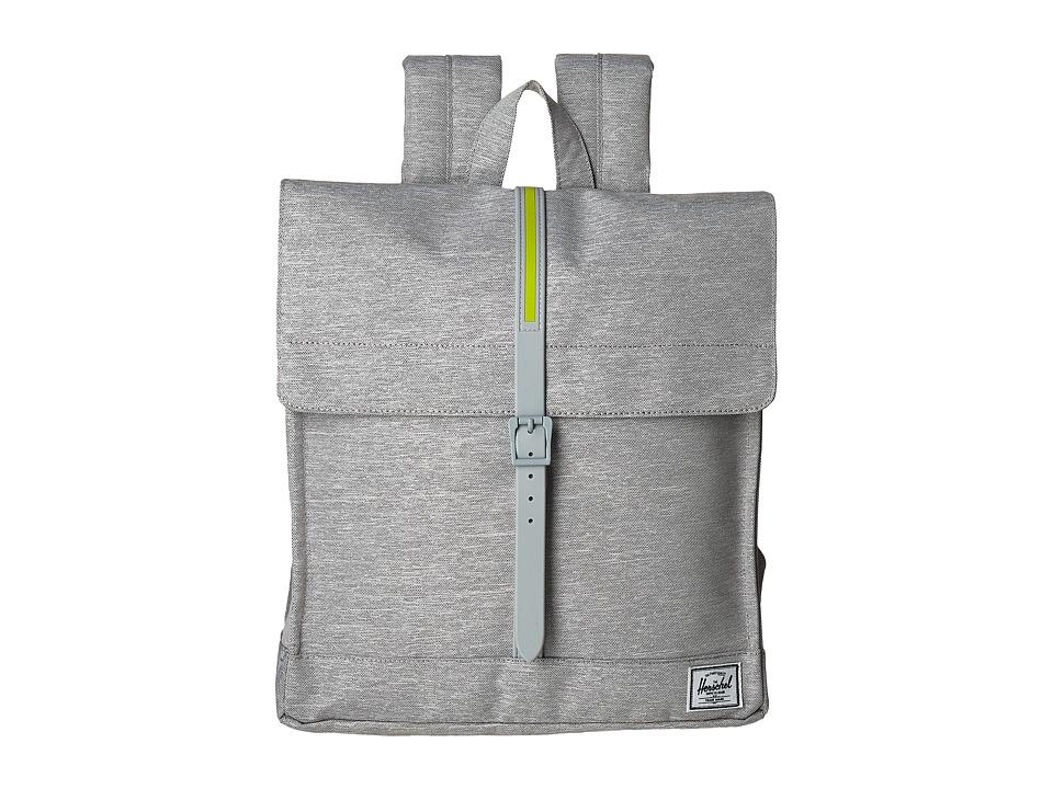 Herschel Supply Co. City (Light Grey Crosshatch/Light Grey Rubber/Acid Lime Insert) Backpack Bags