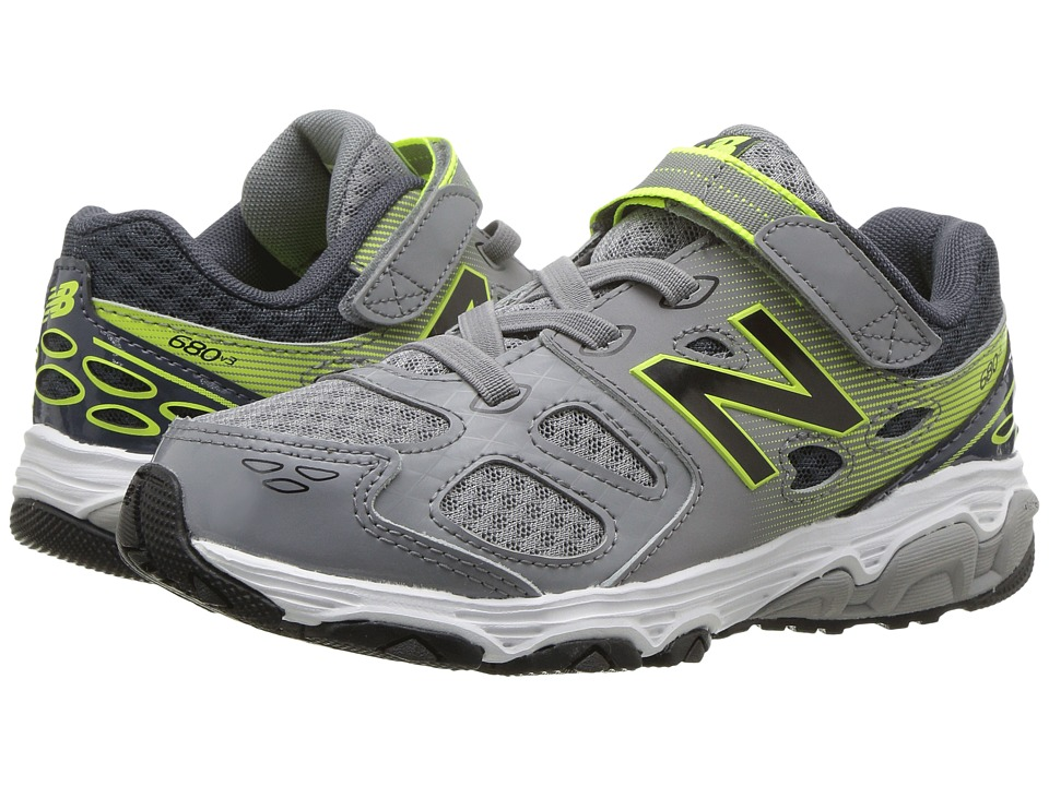 New Balance Kids KA680v3 (Little Kid/Big Kid) (Grey/Hi-Lite) Boys Shoes