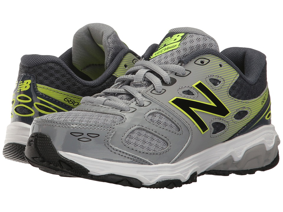 New Balance Kids KR680v3 (Little Kid/Big Kid) (Grey/Hi-Lite) Boys Shoes