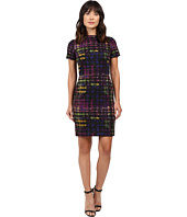Tahari by ASL - Mock Neck Ponte Plaid Sheath w/ Zipper Trim