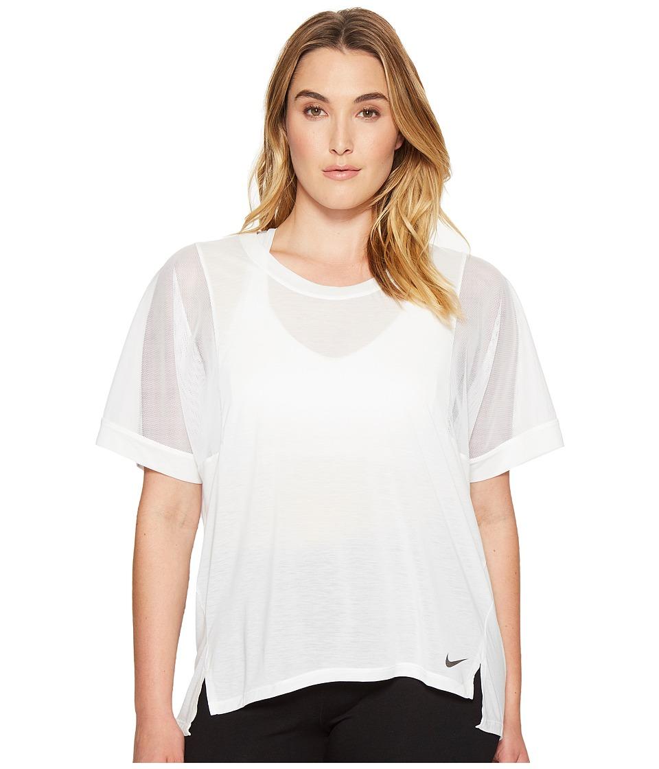 Nike Breathe Training Top (Size 1X-3X) (White/White/Black) Women