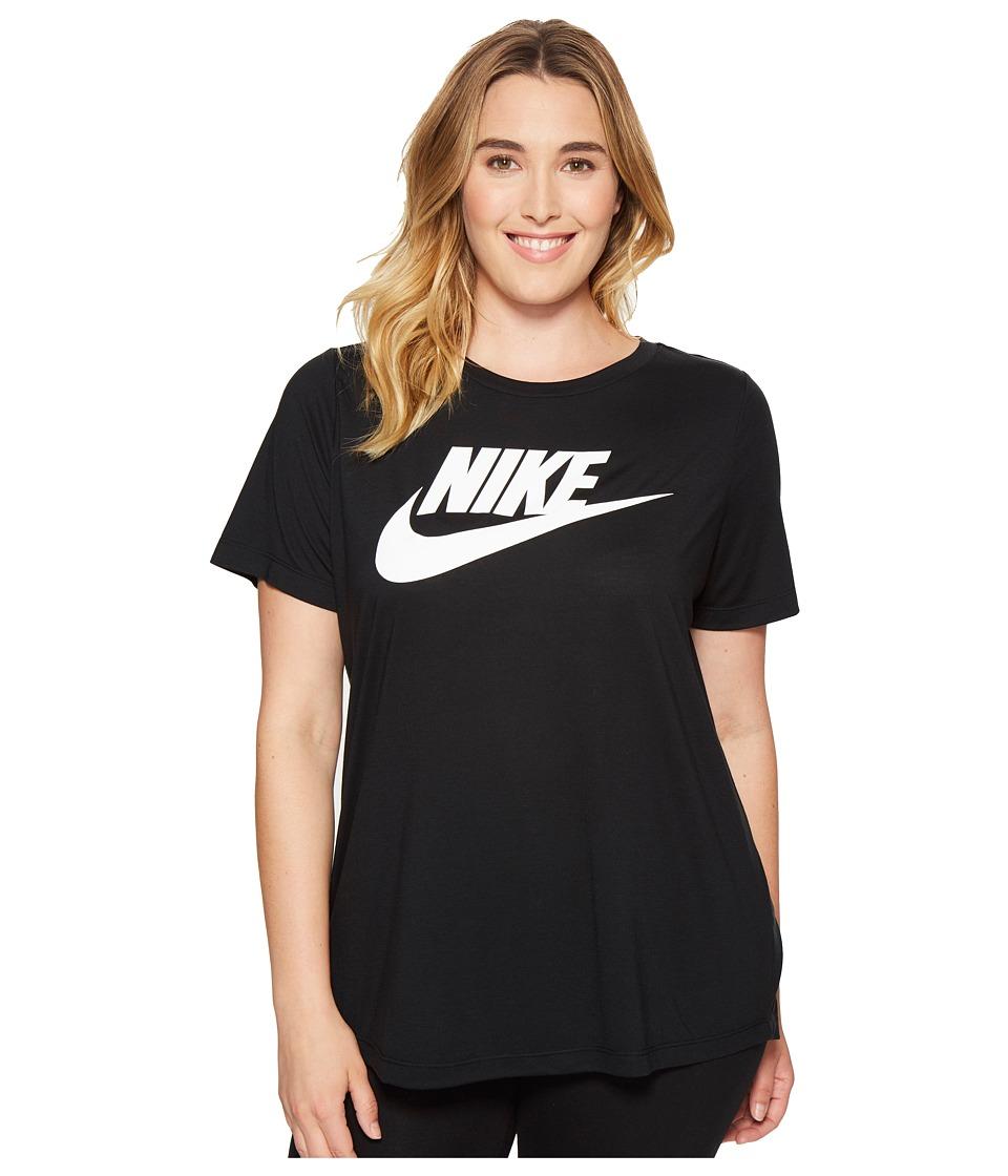 Nike - Sportswear Essential T-Shirt (Size 1X-3X) (Black/White) Women's T Shirt