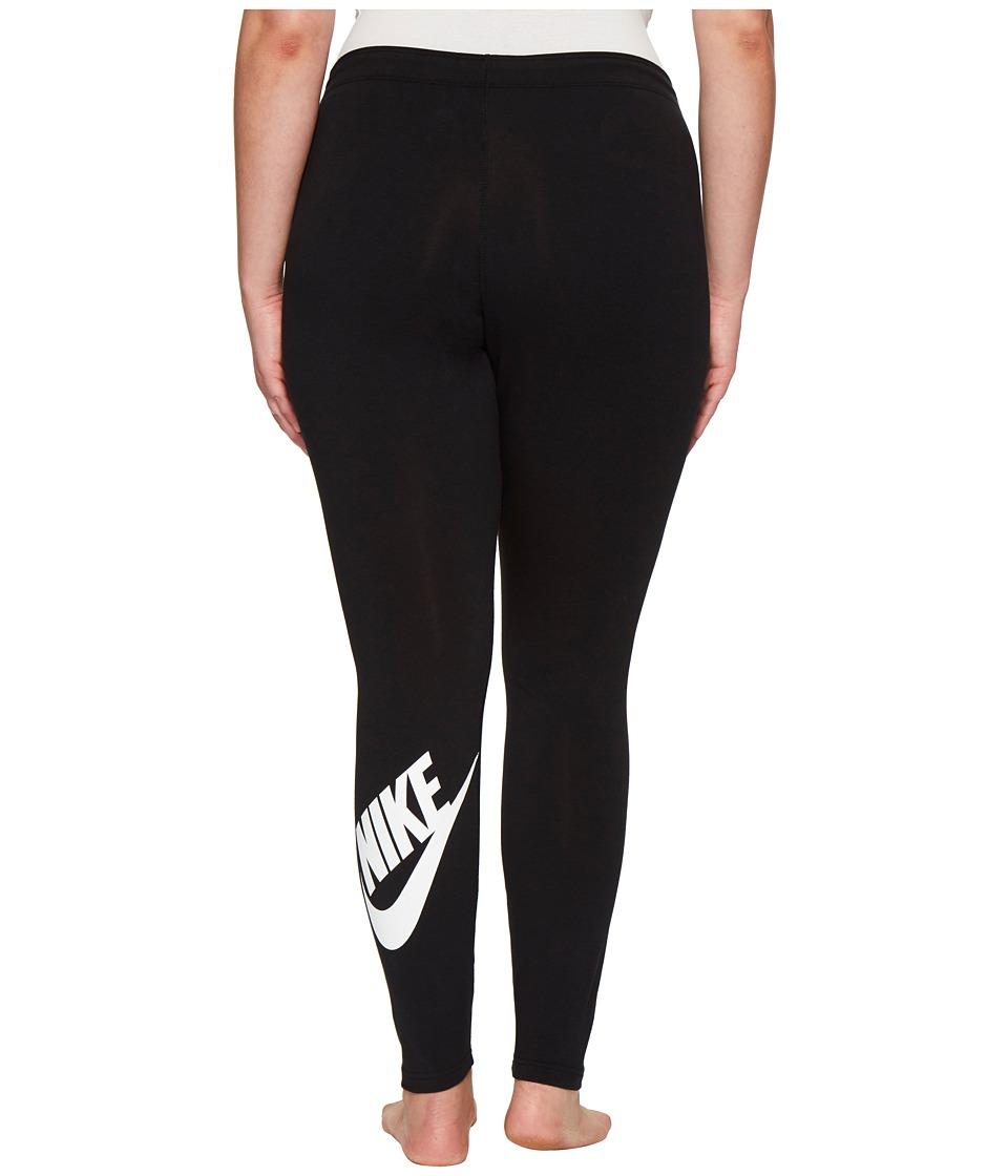 Nike - Sportswear Legging (Size 1X-3X) (Black/White) Women's Casual Pants