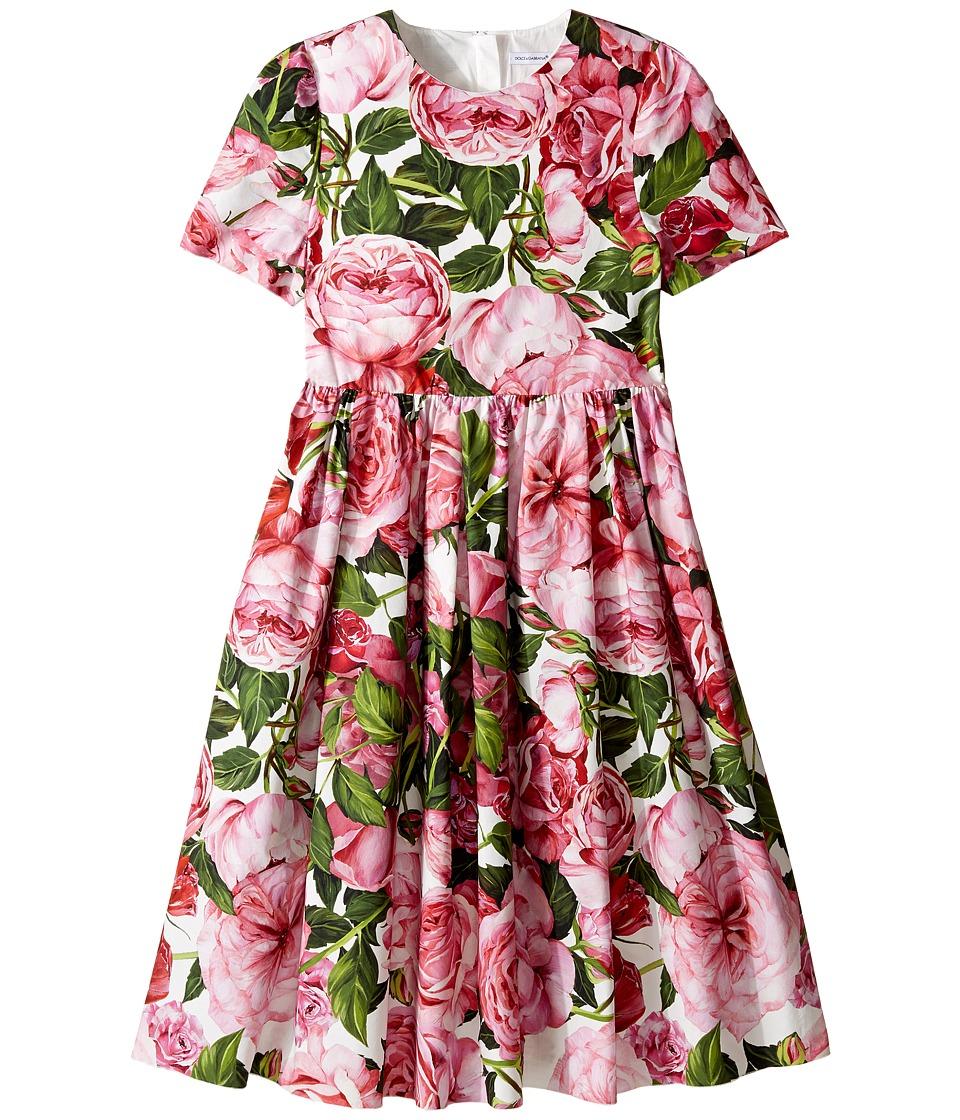 Dolce & Gabbana Kids - Rose Poplin Short Sleeve Dress