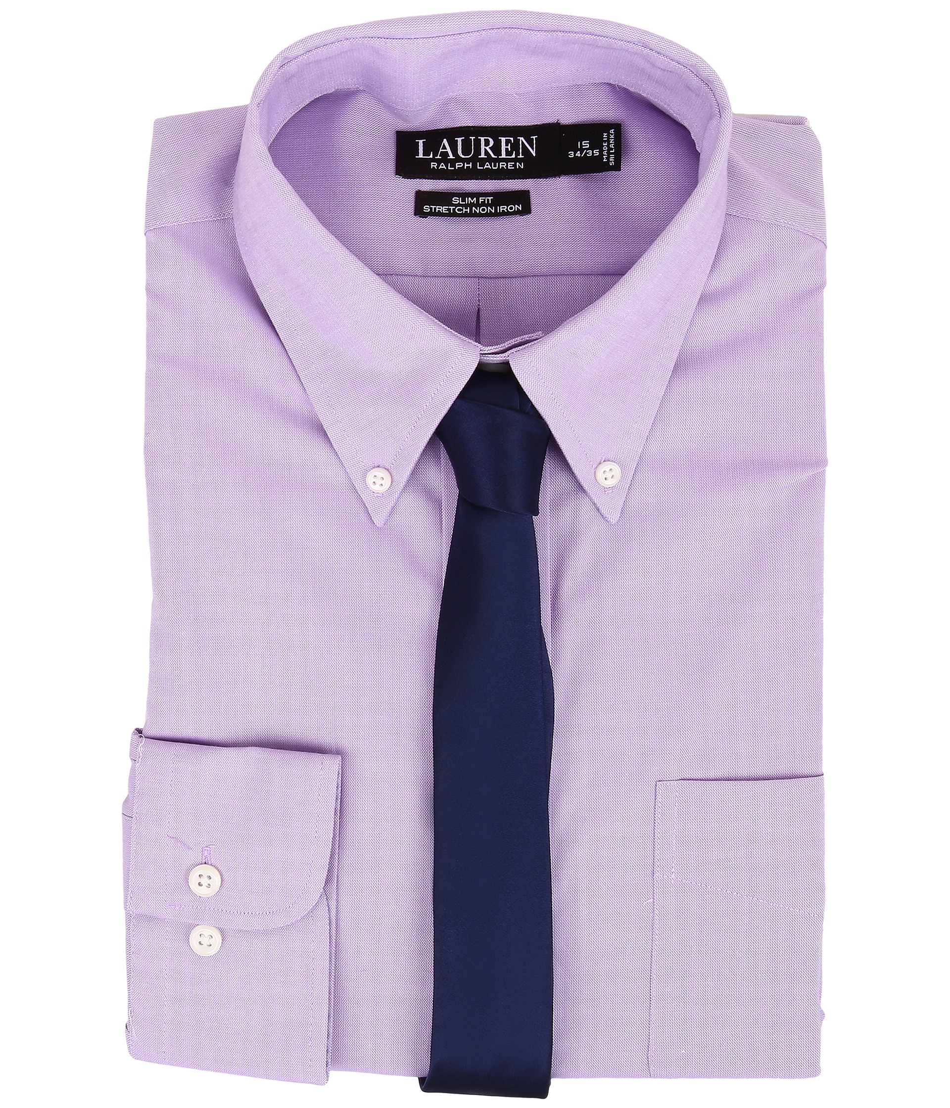 Lauren ralph lauren slim fit stretch non iron pinpoint for Slim fit non iron dress shirts