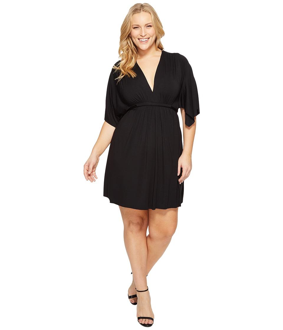 Rachel Pally Plus Size Mini Caftan Dress (Black) Women