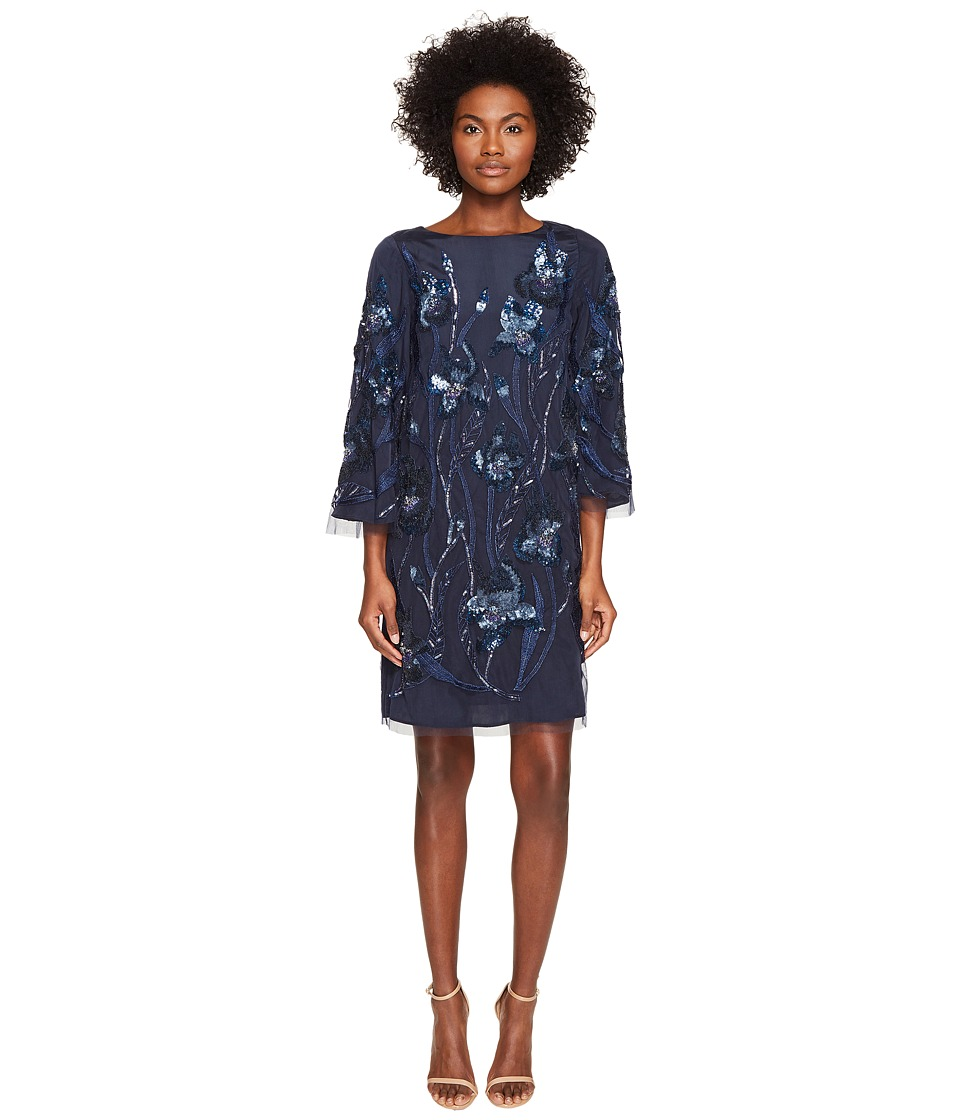 Marchesa Notte 3/4 Sleeve Tunic Dress w/ Embroidery Detail (Navy) Women