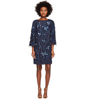 Marchesa Notte - 3/4 Sleeve Tunic Dress w/ Embroidery Detail