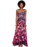 Marchesa Notte - Strapless High-Low Gown w/ 3D Petals