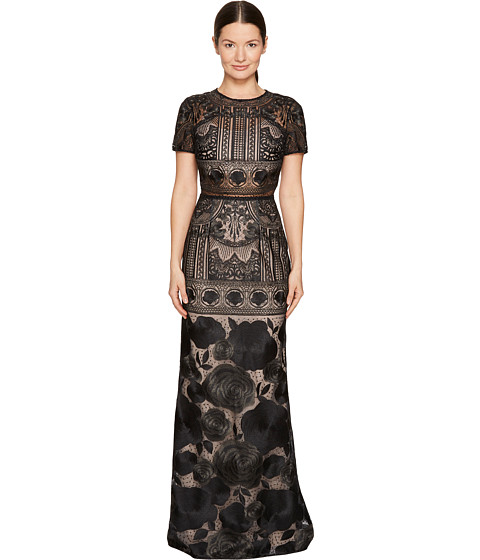 Marchesa Notte Short Sleeve Lace Gown