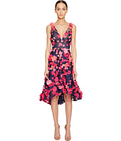 Marchesa Notte - Plunge High-Low Cocktail w/ Flower Petals