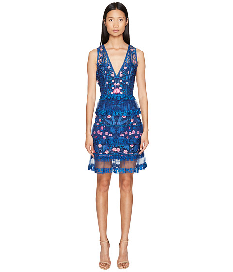 Marchesa Notte Sleeveless Cocktail w/ Guipure Lace Tiered Skirt