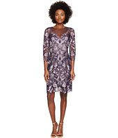 Marchesa Notte - All Over Embroidered Cocktail Dress w/ 3/4 Sleeves