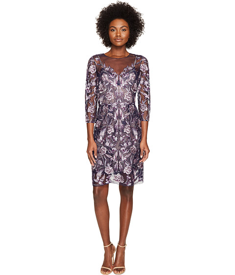 Marchesa Notte All Over Embroidered Cocktail Dress w/ 3/4 Sleeves