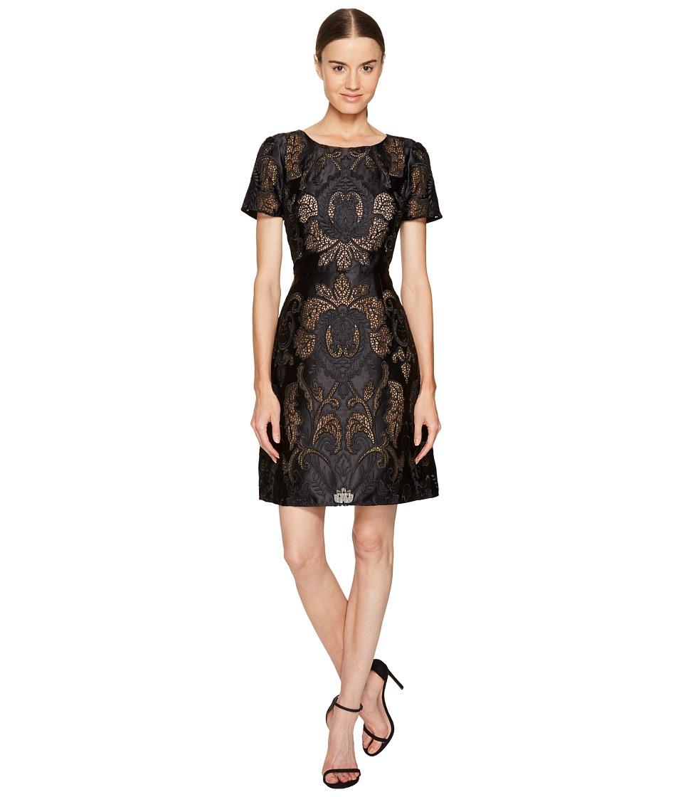 Marchesa Notte - Laser Cut Satin Short Sleeve Dress