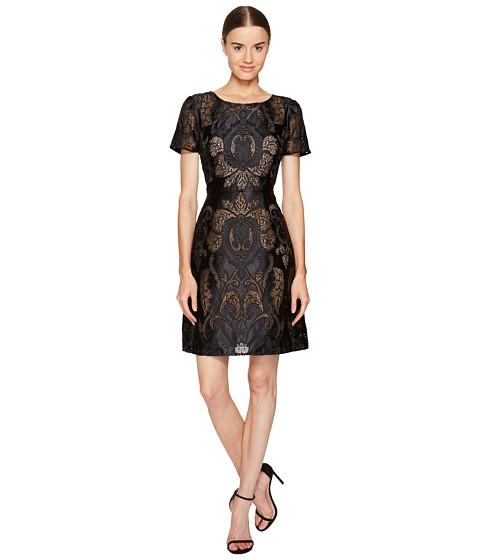 Marchesa Notte Laser Cut Satin Short Sleeve Dress