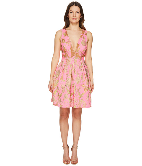 Marchesa Notte V-Neck Metallic Floral Cocktail Dress