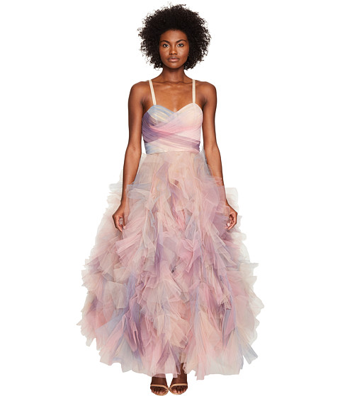Marchesa Pastel Tulle Ruffles w/ Corseted Bodice Cocktail Dress