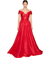 Marchesa - Silk Off Shoulder Sculptural Ball Gown