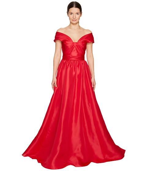 Marchesa Silk Off Shoulder Sculptural Ball Gown