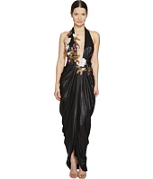 Marchesa - Halter Grecian Gown w/ 3D Sequin Flower Corsages