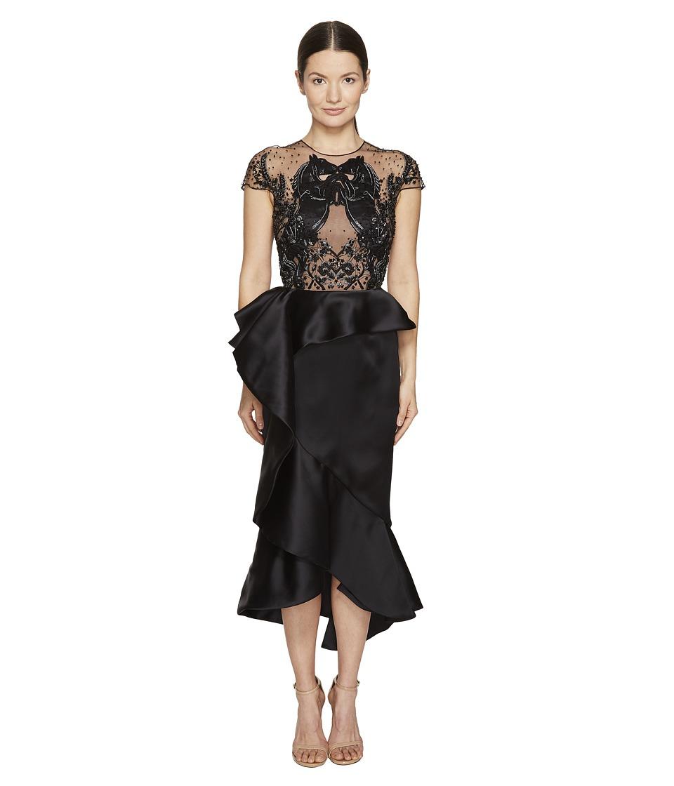 Marchesa - Ruffled Peplum Skirt w/ Beaded Black Horse Bodice