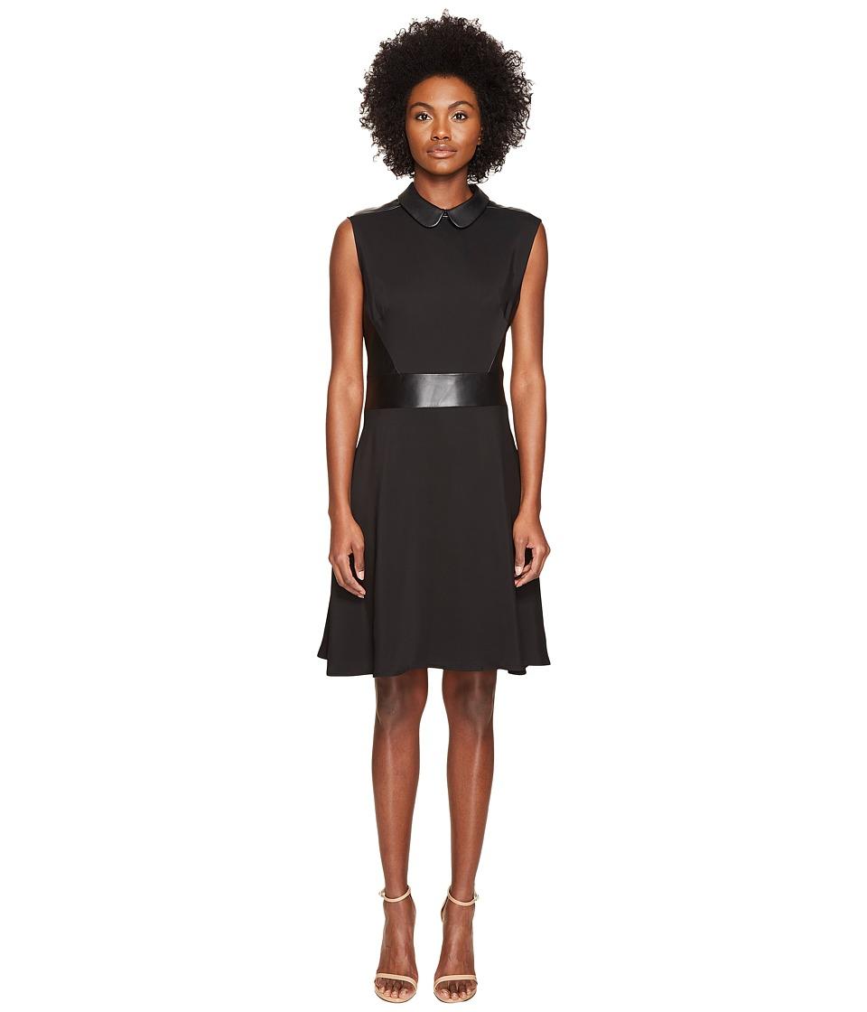 The Kooples Robe Bureau Sans Manches Details Cuir Taille Col Dress (Black) Women