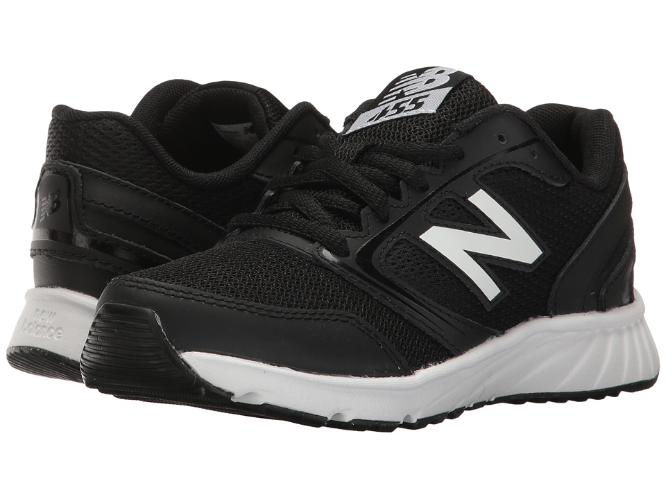 New Balance Kids KR455v1 (Little Kid/Big Kid) (Black/White) Boy's Shoes