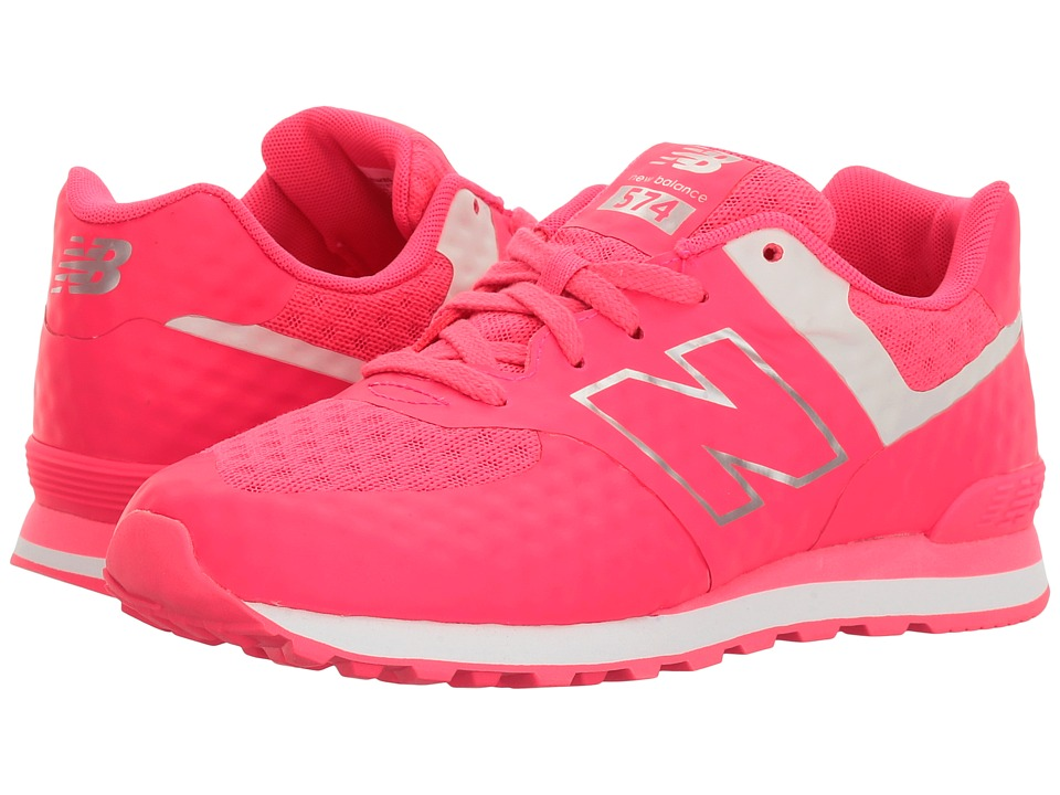 New Balance Kids Breathe 574 (Big Kid) (Pink/Grey) Girl
