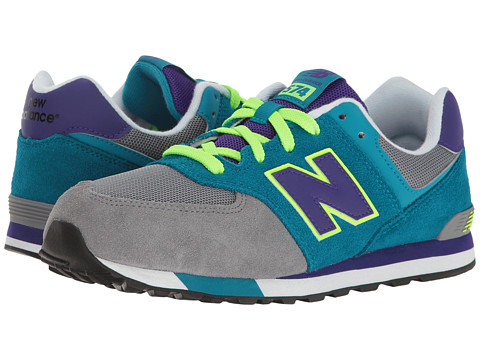New Balance Kids KL574v1 (Big Kid) - Grey/Teal